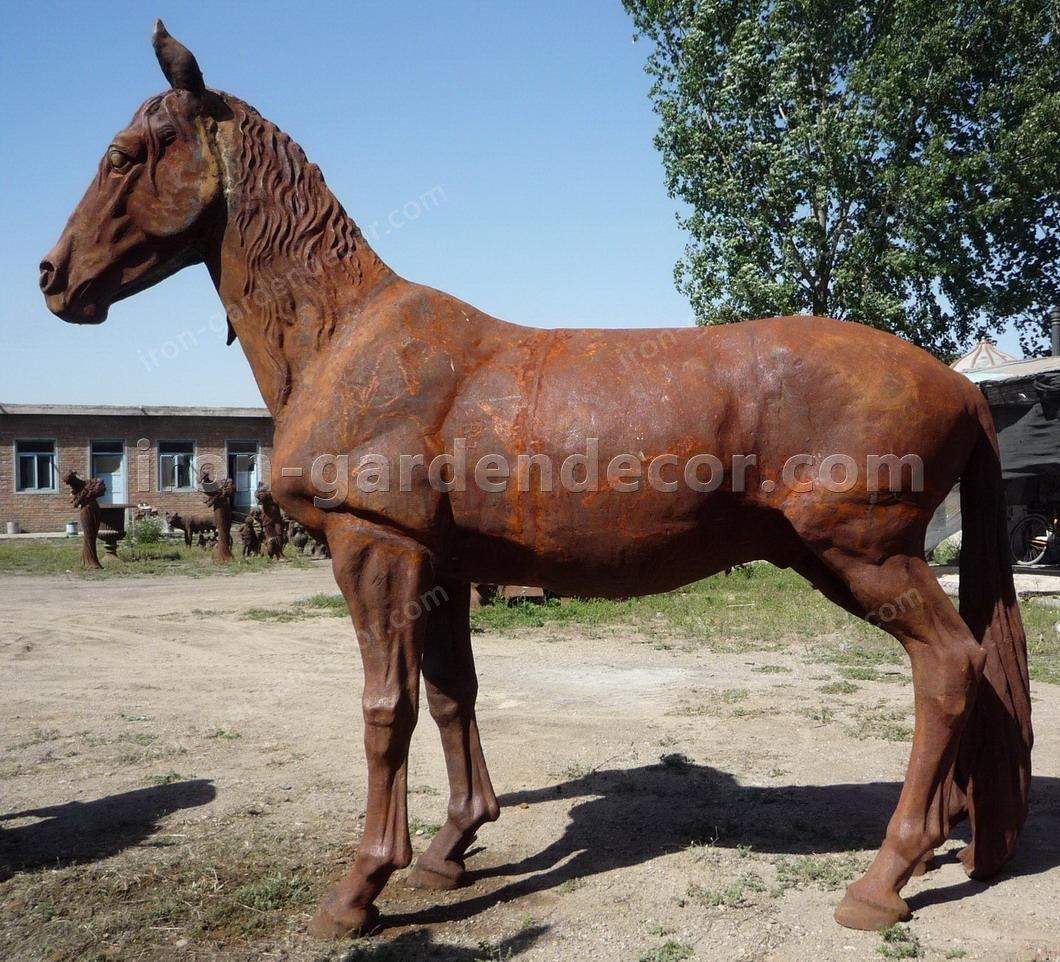 normal size cast iron animal of horse garden animal, large horse animal-Face Forward Horse (1)