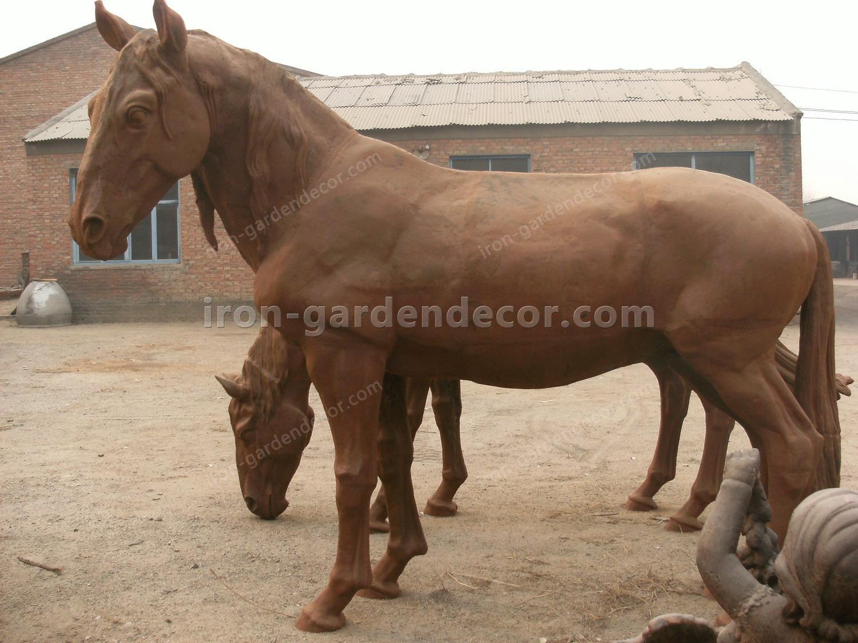 normal size cast iron animal of horse garden animal, large horse animal-Raise Head Horse (1)