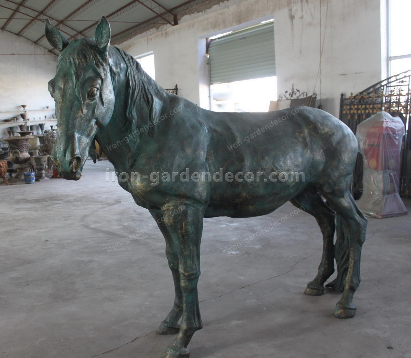 normal size cast iron animal of horse garden animal, large horse animal-Raise Head Horse (3)