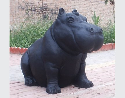 cast iron garden aniamls of metal large hippo