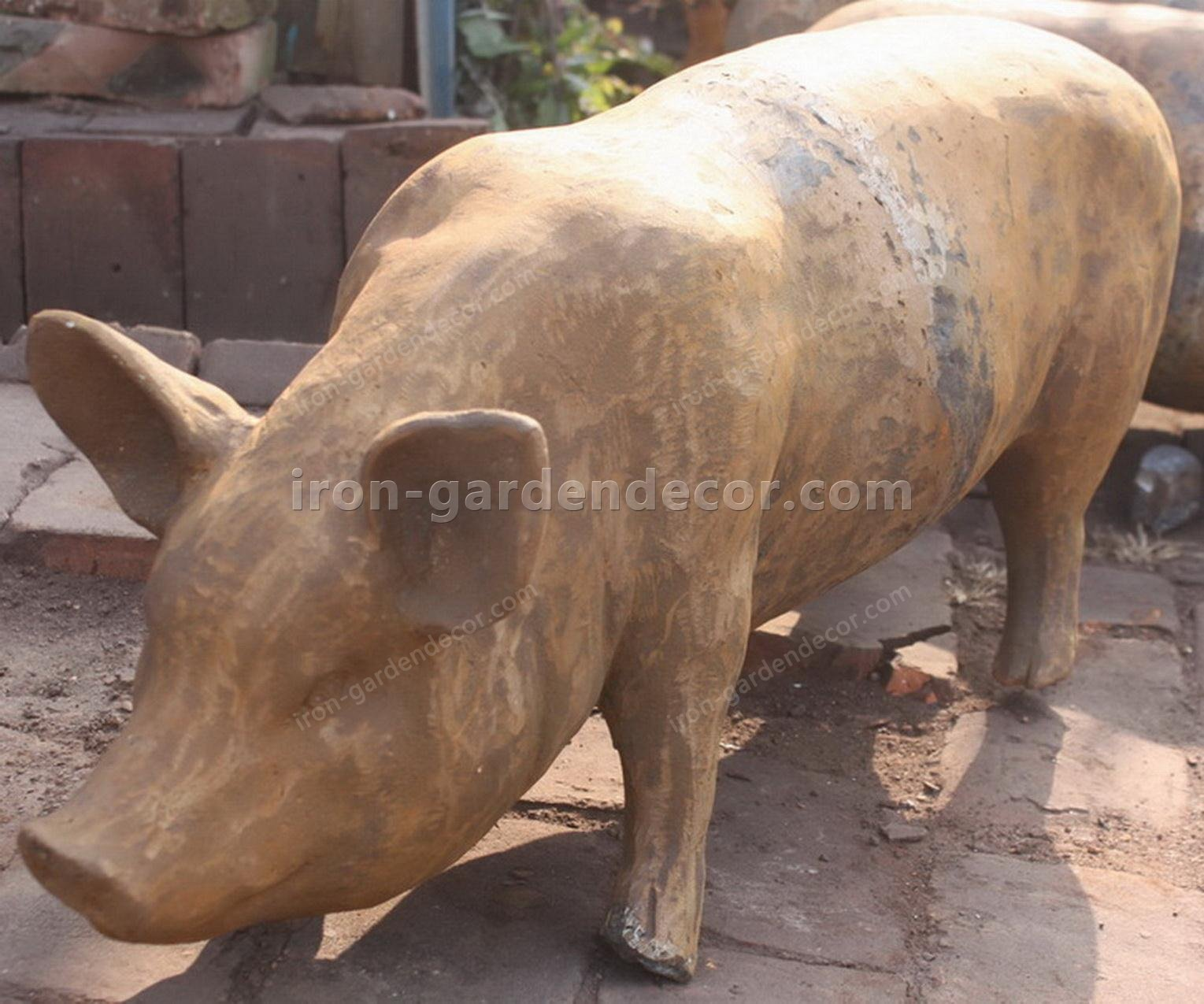 yard art metal animals,iron sculpture art,small cast iron animals, iron pigs, large pig-NS1510(4)