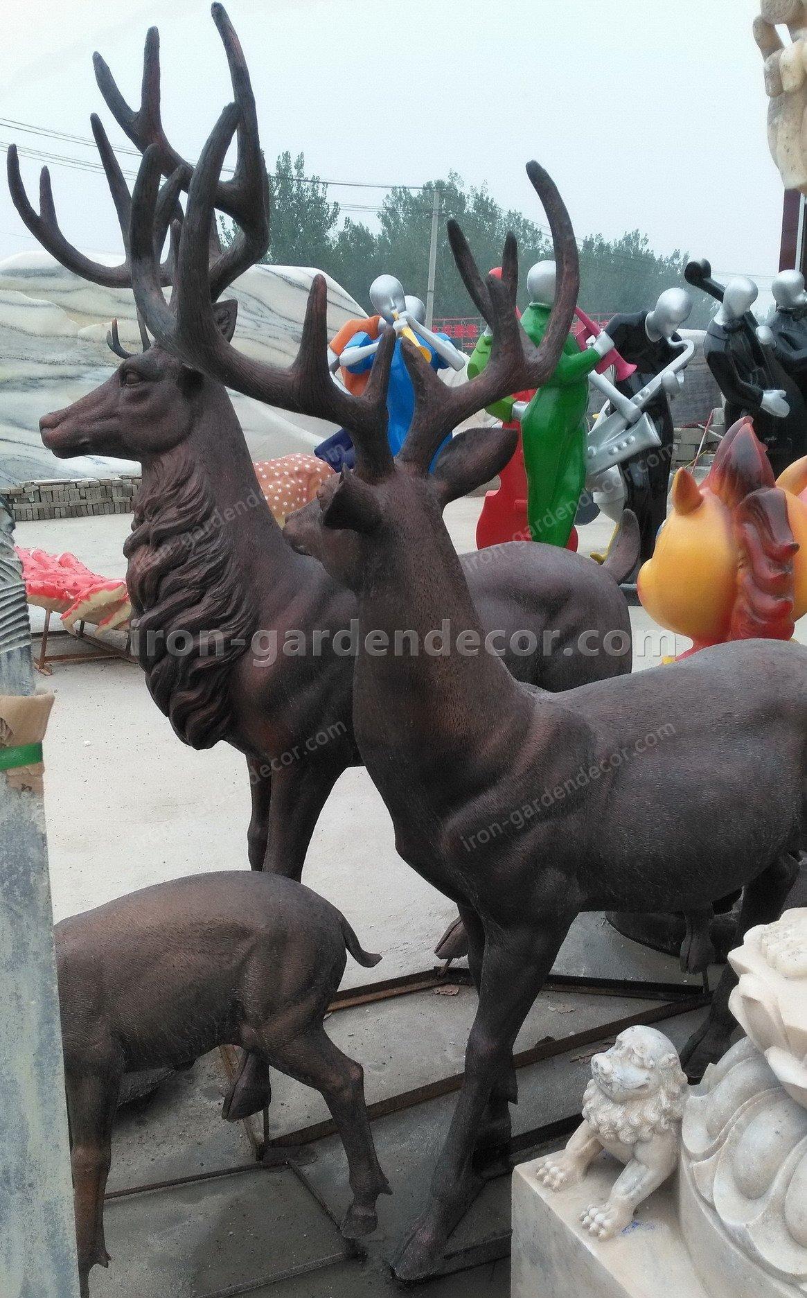 Home decoration outdoor garden stage animal resin statue fiberglass-DEER FAMILY FS076 (10)