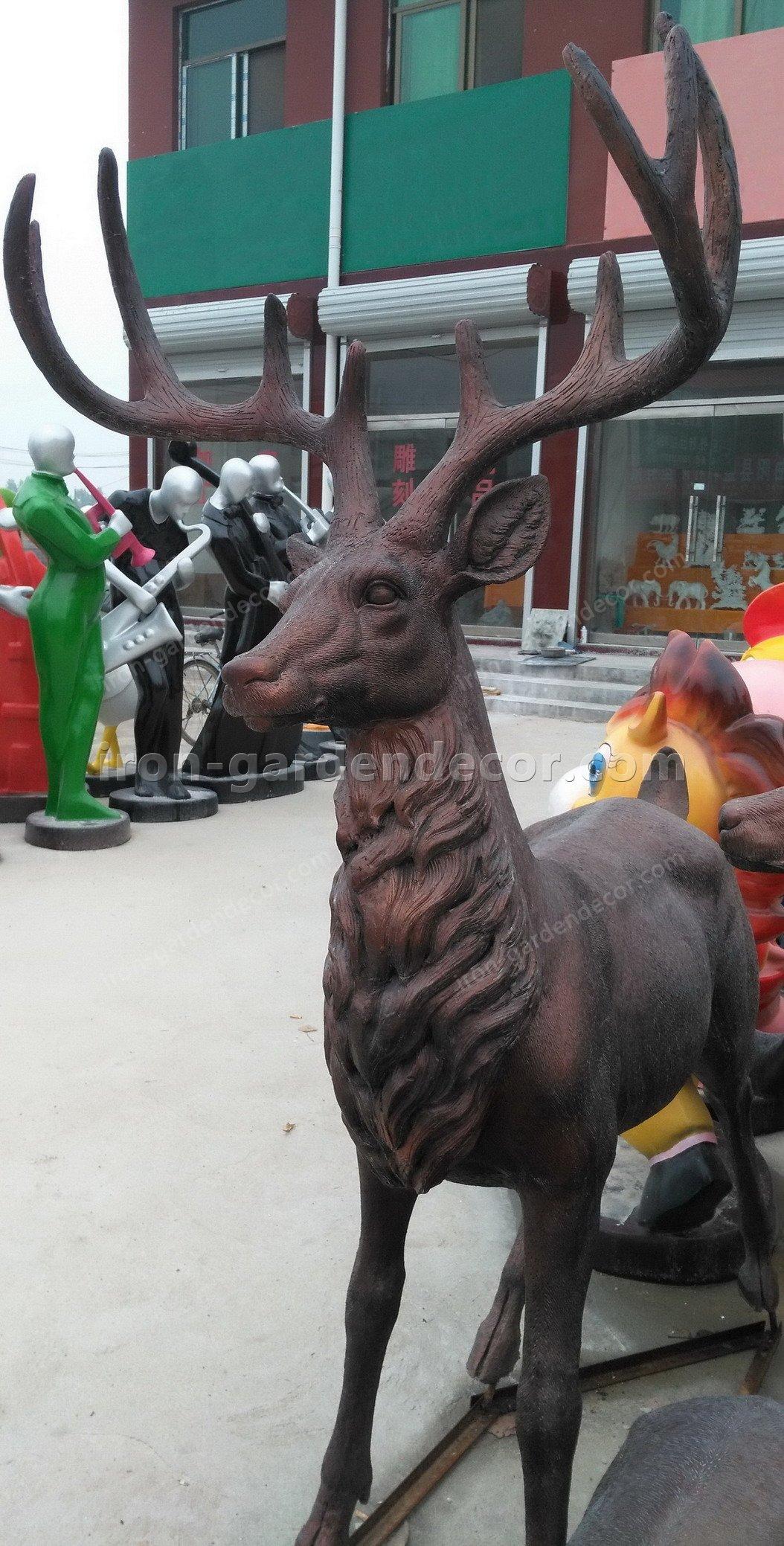 Home decoration outdoor garden stage animal resin statue fiberglass-DEER FAMILY FS076 (3)