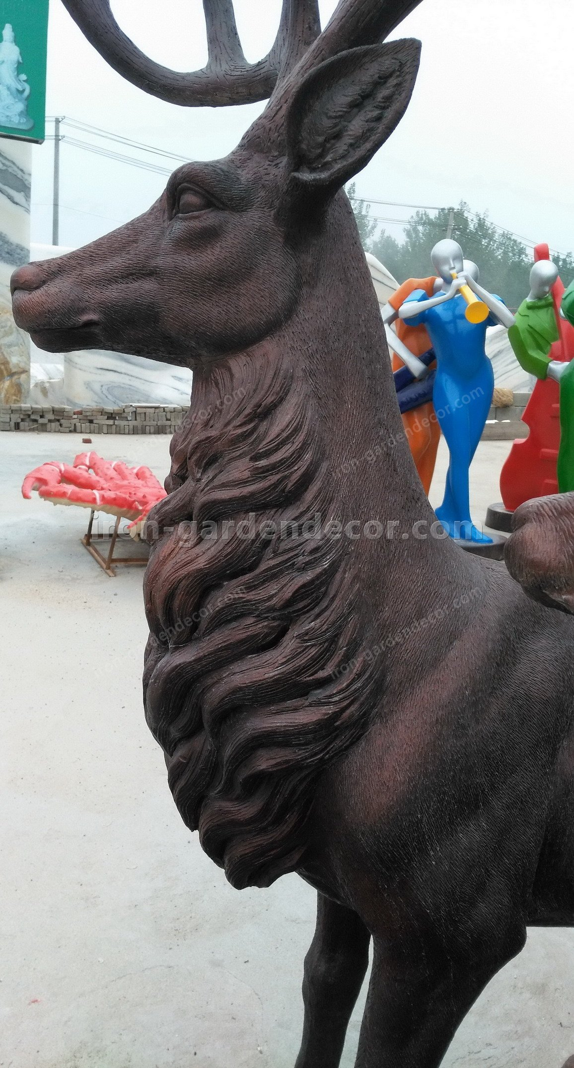 Home decoration outdoor garden stage animal resin statue fiberglass-DEER FAMILY FS076 (4)