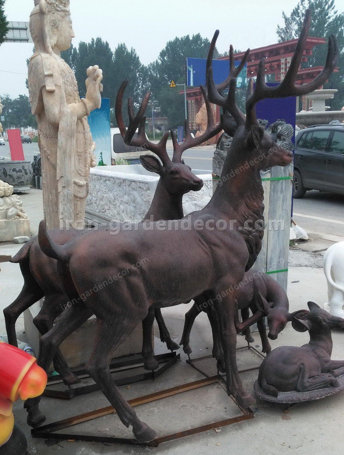 Home decoration outdoor garden stage animal resin statue fiberglass-DEER FAMILY FS076 (8)