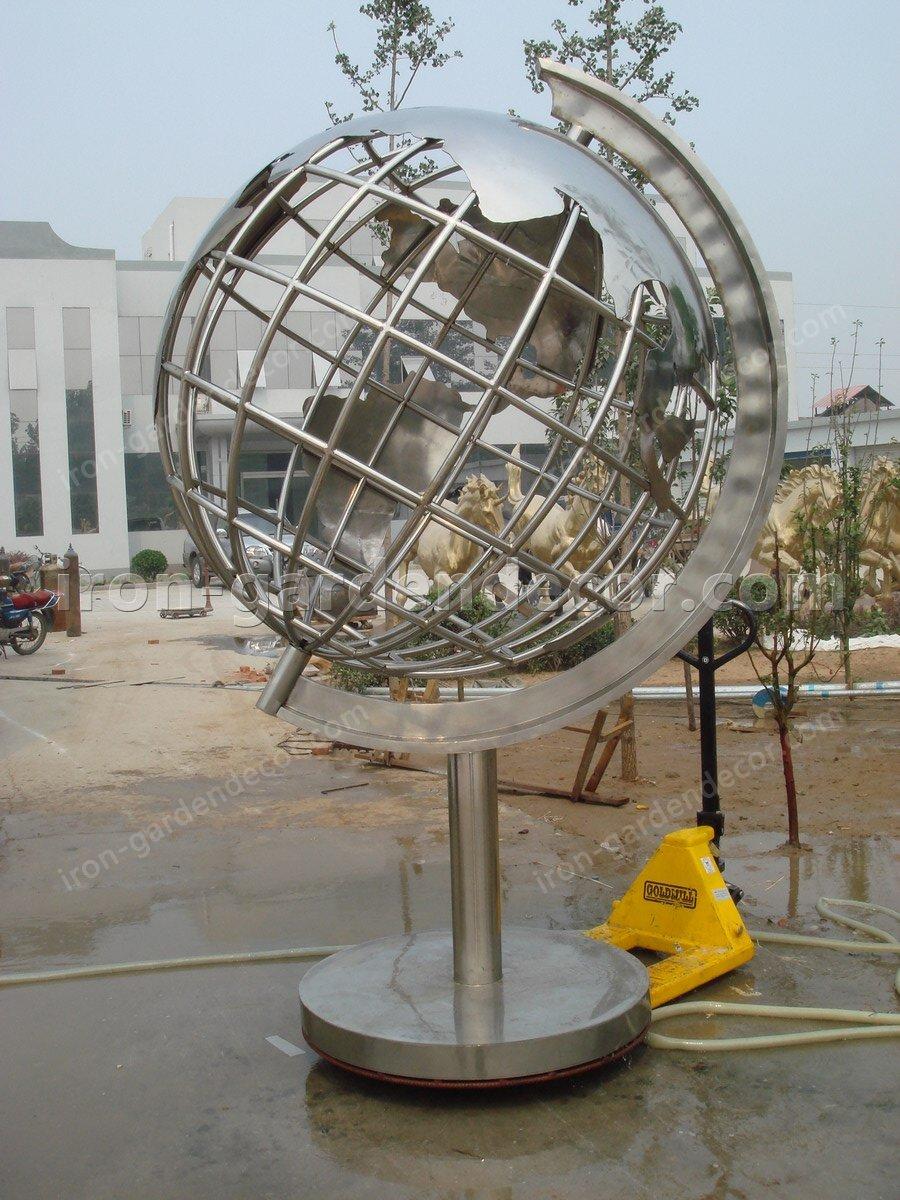 Garden Sculpture,Stainless Steel Sculpture of slivery tellurion-Globe 2 (1)