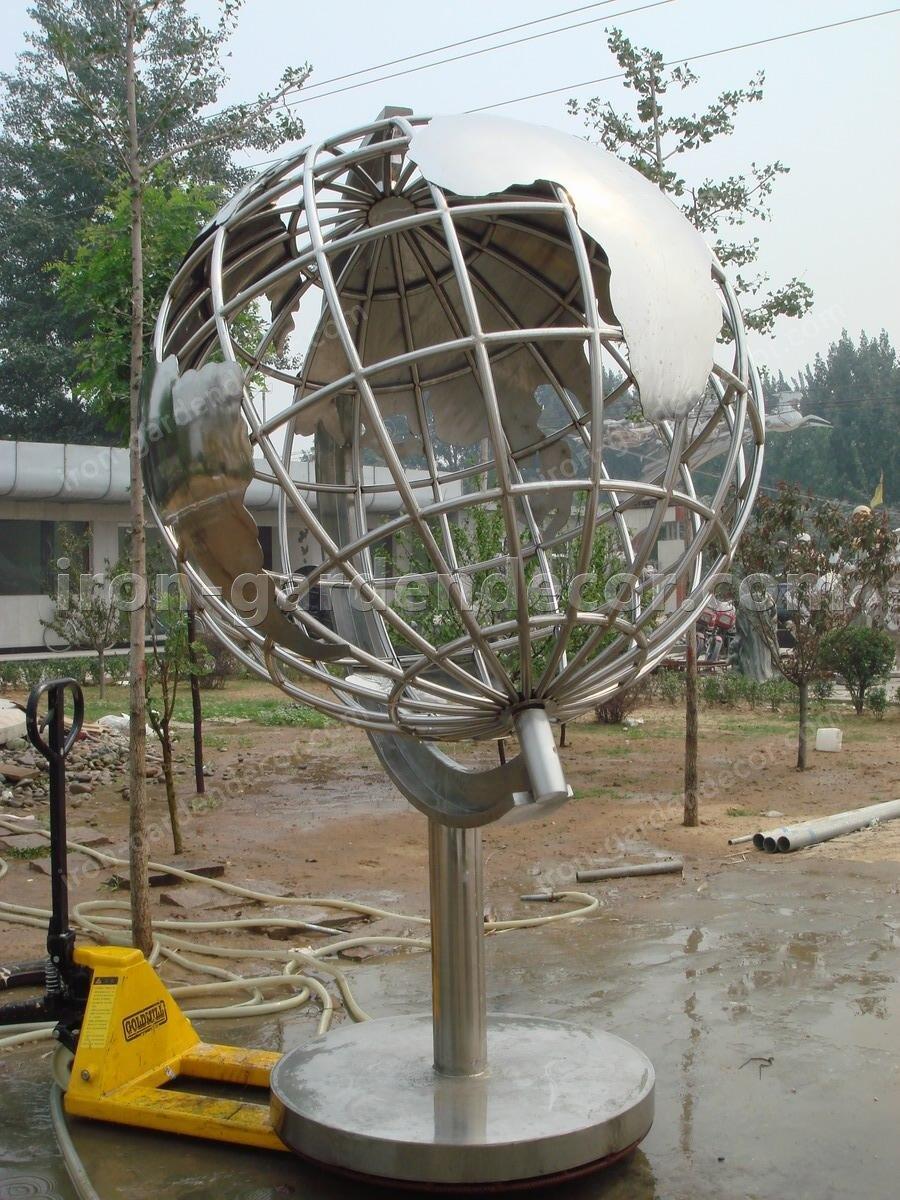 Garden Sculpture,Stainless Steel Sculpture of slivery tellurion-Globe 2 (2)