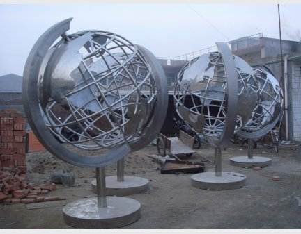 Garden Sculpture,Stainless Steel Sculpture of slivery tellurion