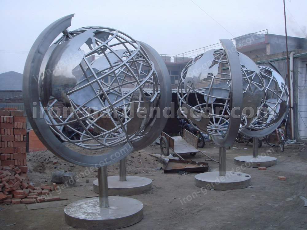 Garden Sculpture,Stainless Steel Sculpture of slivery tellurion-Globe 2 (5)