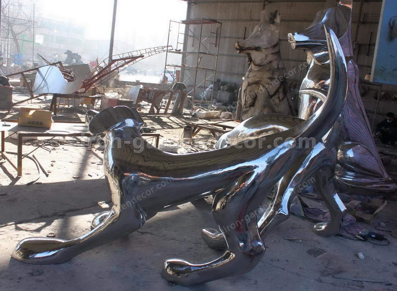Stainless Steel large dog animal Sculpture,statue-IMG_2261