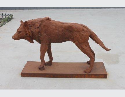 iron dog statue,antique cast iron wolf