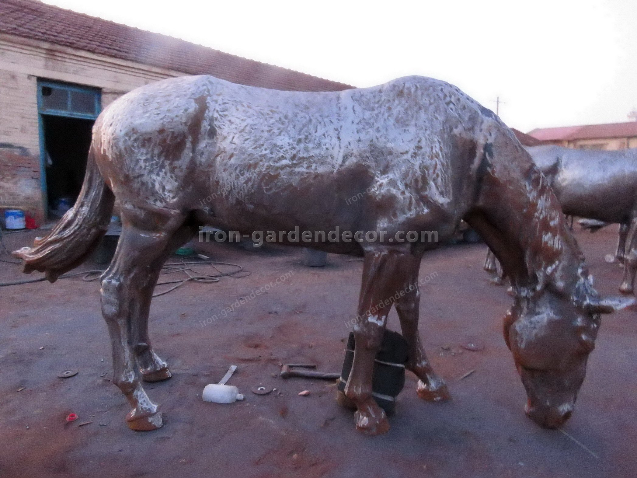 large iron horse for garden docoration, rust large horse down head-SS6028 (15)