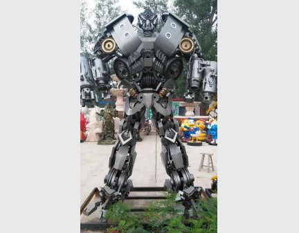 Decor Metal Robot Iron Transformer Sculpture Statue,Large Transformer Robot Model