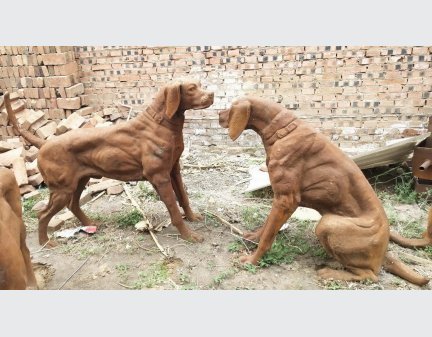 cast iron animal dogs,yard art metal animals