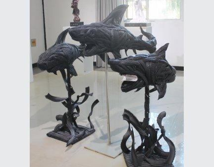 Tire Sculpture,metal garden art animals sharks