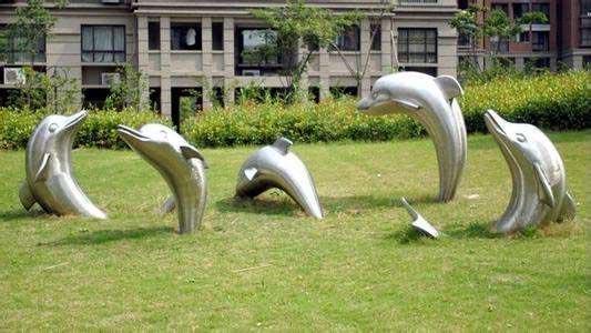outdoor Art Garden Sculpture stainless steel dolphins-3