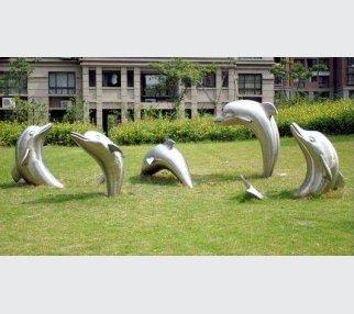 outdoor Art Garden Sculpture stainless steel dolphins