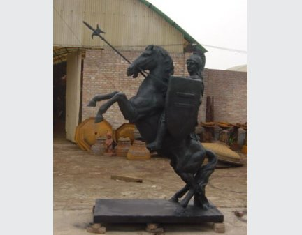 iron statue take the spear ,cast iron garden riding horse soldiers