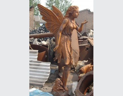 cast iron angel,cast iron garden statue with shell or bird