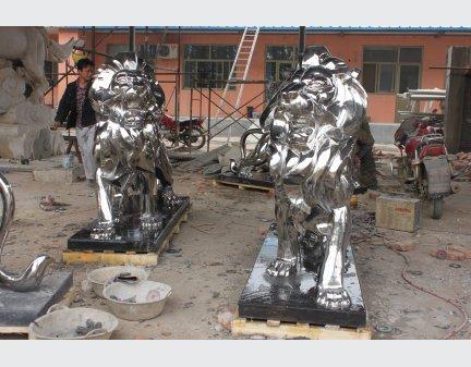 Stainless Steel Statue,large steel lion art outdoor sculpture